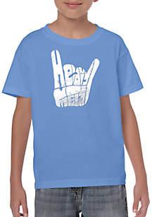 LA Pop Art Boys Word Art T Shirt - Heavy Metal