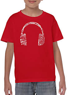 LA Pop Art Boys 8-20 Word Art T-shirt - Headphones