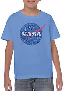 LA Pop Art Boys 8-20 Word Art T Shirt - NASA's Most Notable Missions