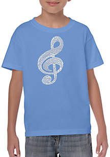 LA Pop Art Boys 8-20 Word Art T Shirt - Music Note