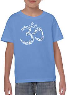 LA Pop Art Boys 8-20 Word Art T Shirt - The Om Symbol Out of Yoga Poses
