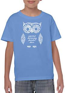 LA Pop Art Boys 8-20 Word Art T Shirt- Owl