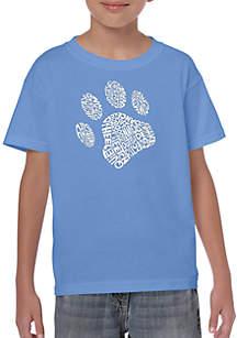 LA Pop Art Boys 8-20 Word Art T Shirt - Dog Paw