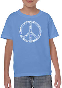LA Pop Art Boys 8-20 Word Art T Shirt - The Word Peace in 77 Languages