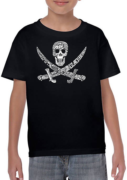 Boys 8-20 Word Art T Shirt - Pirate Captains, Ships, and Imagery