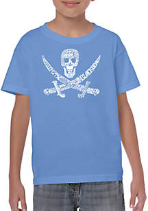 LA Pop Art Boys 8-20 Word Art T Shirt - Pirate Captains, Ships, and Imagery