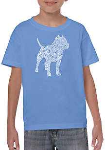 LA Pop Art Boys 8-20 Word Art T Shirt - Pit Bull