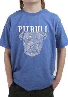 La Pop Art Boys Boys 8-20 Word Art T-Shirt - Pitbull Face