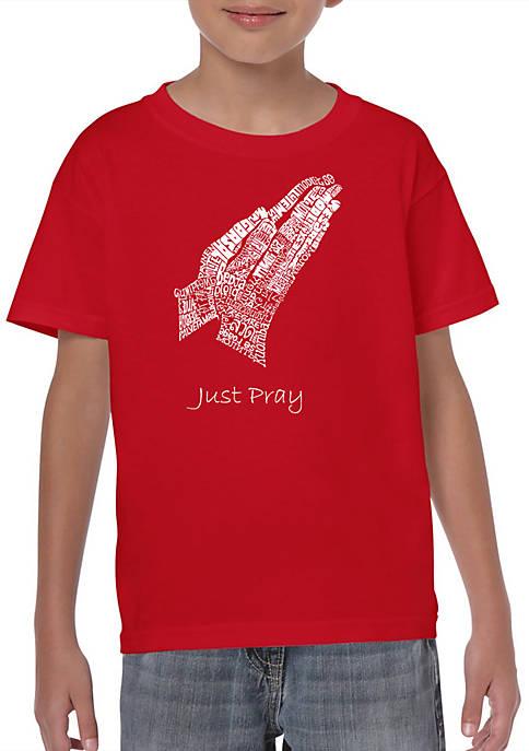 Boys 8-20 Word Art Graphic T-Shirt - Prayer Hands