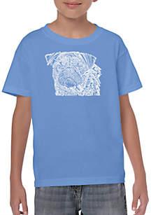 LA Pop Art Boys 8-20 Word Art T Shirt - Pug Face