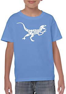 LA Pop Art Boys 8-20 Word Art T Shirt - Velociraptor
