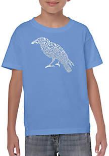 LA Pop Art Boys 8-20 Word Art T Shirt - Edgar Allen Poe's The Raven