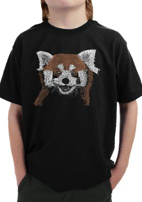 La Pop Art Boys Boys 8-20 Word Art T-Shirt - Red Panda