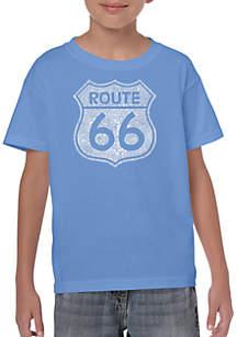 LA Pop Art Boys 8-20 Word Art T Shirt - Cities Along The Legendary Route 66