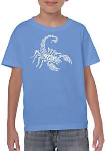 LA Pop Art Boys 8-20 Word Art T Shirt - Types of Scorpions