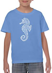 LA Pop Art Boys 8-20 Word Art T Shirt - Types of Seahorse