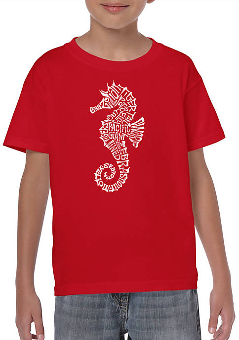 Boys 8-20 Word Art Graphic T-Shirt - Types of Seahorse