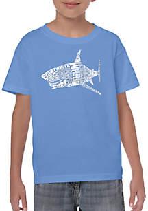 LA Pop Art Boys 8-20 Word Art T Shirt - Species of Shark