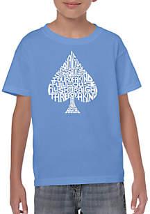 LA Pop Art Boys 8-20 Word Art T Shirt - Order of Winning Poker Hands