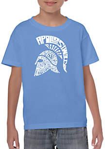 LA Pop Art Boys 8-20 Word Art T Shirt - Spartan