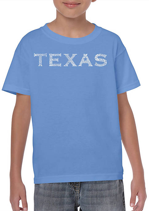 Boys 8-20 Word Art T Shirt - The Great Cities of Texas