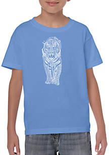 LA Pop Art Boys 8-20 Word Art T Shirt - Tiger