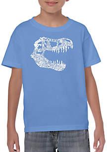 LA Pop Art Boys 8-20 Word Art T Shirt - T Rex