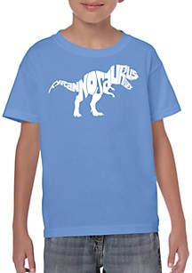 LA Pop Art Boys 8-20 Word Art T Shirt - Tyrannosaurus Rex