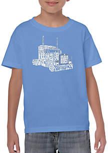 LA Pop Art Boys 8-20 Word Art T Shirt - Keep on Truckin'