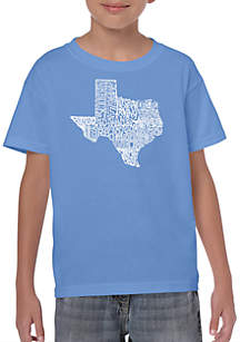 LA Pop Art Boys 8-20 Word Art T Shirt - The Great State of Texas
