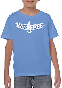 LA Pop Art Boys 8-20 Word Art T Shirt - Wild and Free Eagle