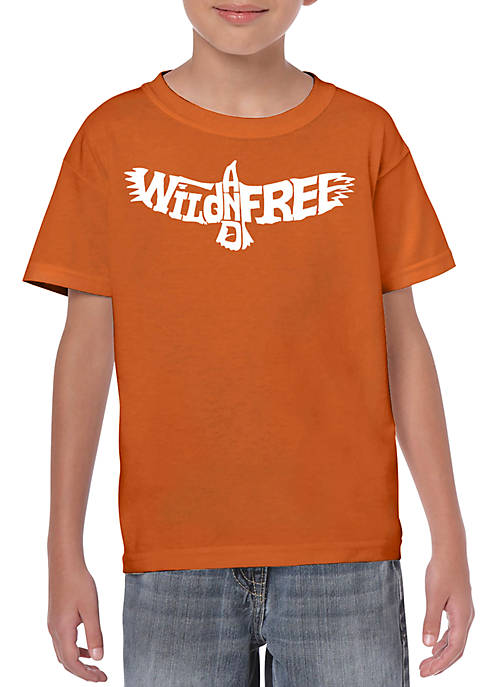 Boys 8-20 Word Art Graphic T-Shirt - Wild and Free Eagle