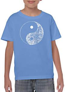 LA Pop Art Boys 8-20 Word Art T Shirt - Yin Yang