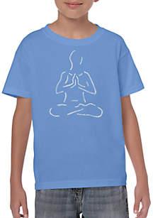 LA Pop Art Boys 8-20 Word Art T Shirt - Popular Yoga Poses