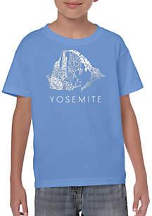 LA Pop Art Boys 8-20 Word Art T Shirt - Yosemite