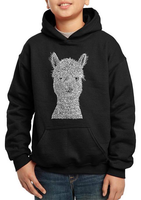Boys 8-20 Word Art Hooded Sweatshirt - Alpaca