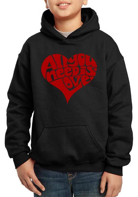 Boys 8-20 Word Art Hooded Graphic Sweatshirt - All You Need is Love