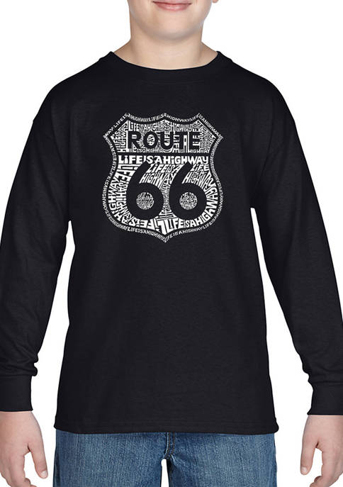 Boys 8-20 Word Art Long Sleeve Graphic T-Shirt - Route 66 - Life is a Highway