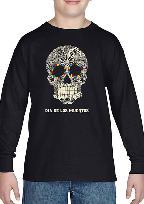 Boys 8-20 Word Art Long Sleeve Graphic T-Shirt - Día de los Muertos