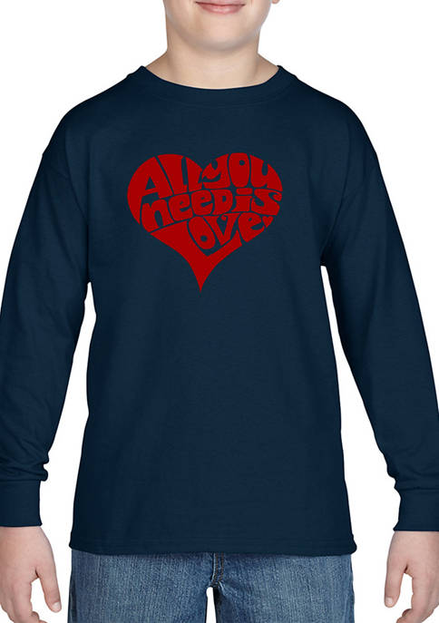"""Boys 8-20 Word Art Long Sleeve Graphic T-Shirt - """"All You Need is Love"""""""