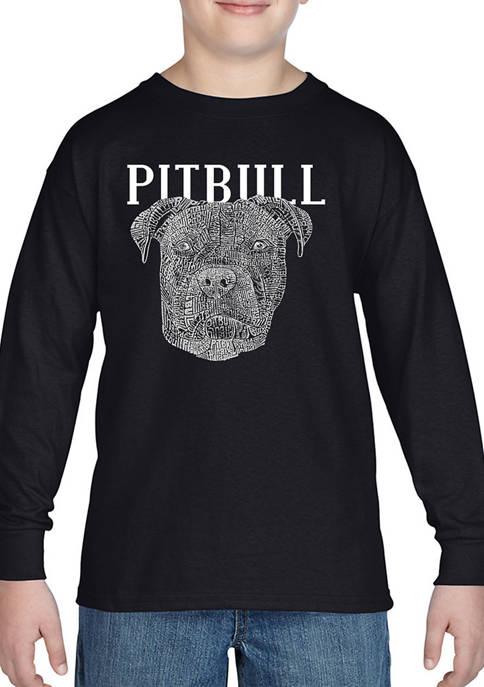 Boys 8-20 Word Art Long Sleeve Graphic T-Shirt - Pitbull Face
