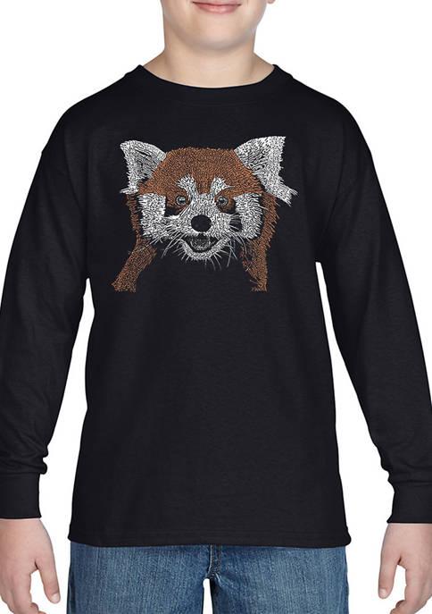 Boys 8-20 Word Art Long Sleeve Graphic T-Shirt - Red Panda