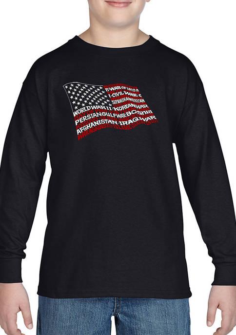 Boys 8-20 Word Art Long Sleeve T-Shirt - American Wars Tribute Flag
