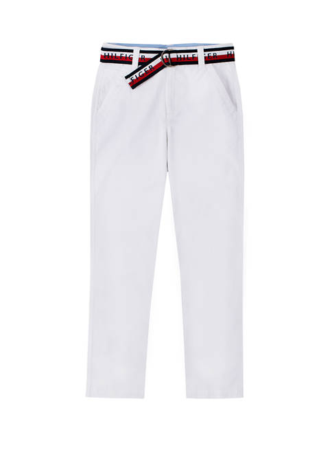 Boys 8-20 Flat Front Belted Pants