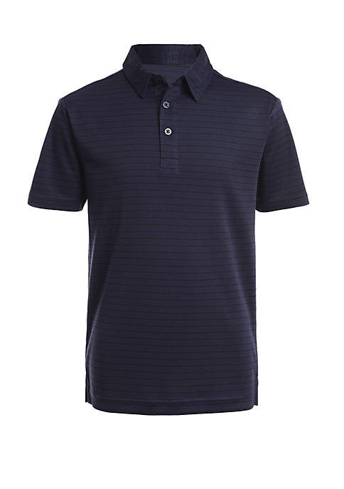 Boys 8-20 Short Sleeve Interlock Stripe Performance Polo Shirt
