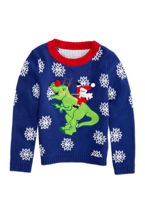 Joyland Boys 4-7 Santas Trusty Rex Christmas Sweater