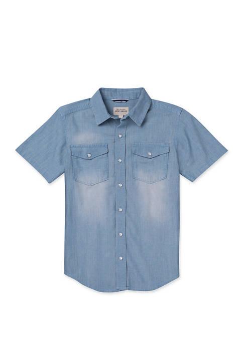 Boys 8-20 Chambray Short Sleeve Shirt
