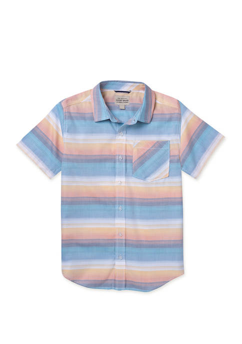 Lucky Brand Boys 8-20 Ombre Stripe Short Sleeve