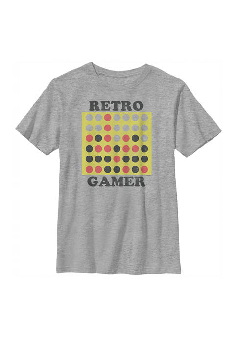 Connect Four Boys 4-7 Retro Gamer Graphic T-Shirt