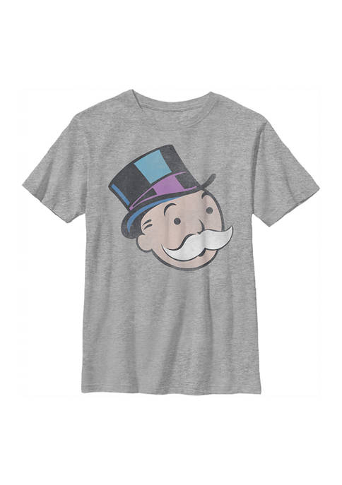 Monopoly Boys 4-7 Moneybags Big Face Distressed Graphic